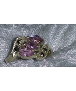 Vintage 9.25 pink ice Marcasite Sterling silver ring  Downton Abbey size... - $42.90
