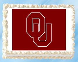 "Oklahoma Sooners Edible Image Topper Cupcake Cake Frosting 1/4 Sheet 8.5 x 11"" - $11.75"