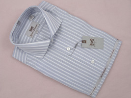 NEW $145 Hickey Freeman Oxford Shirt! 15 34  *White with Blue-Gray Stripes* - $69.99