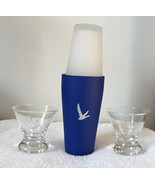 2 Grey Goose Vodka Embossed Cocktail Glasses and Stainless Steel Cocktai... - $44.50