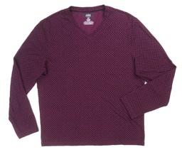 Nuevo Alfani Rojo Vino Negro Valla Rayas con Textura L/S Camiseta Cuello... - $16.62