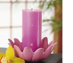 "PartyLite Lotus Blossom & Plum Pillar Candle 3""x7"" with Asian Persuasion... - $36.49"