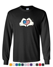 I Heart USA Cartoon Hands Long Sleeve T-Shirt 4th of July Cute American Flag Tee - $10.81+