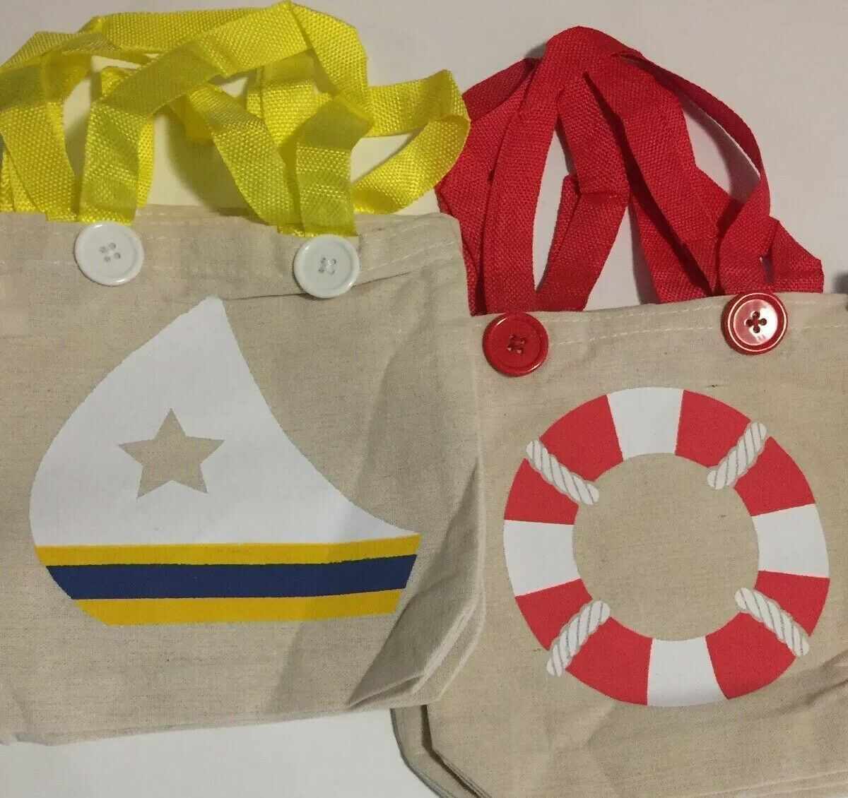 Fun Express Nautical Theme Canvas Small Tote Bags - 1 Dozen