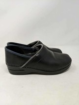 Dansko Womens Clogs Shoes Black Blue Leather Slip On Low Stitching Comfort 38 8 - $29.69