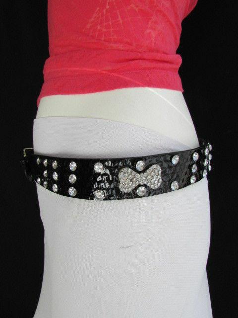 Damen Kunstleder Western Schwarz Gürtel Große Schleife Silber Perlen Schnalle image 10
