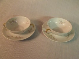 PAIR OF B & CO. LIMOGES ROSES VINE FLORAL CREAM SOUP BOWLS AND SAUCERS, ... - $39.60