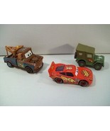 LOT OF 3 DISNEY CARS #95 DIE CAST CARS TOW MATER SARGE LIGHTNING MCQUEEN - $14.65
