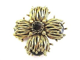 VINTAGE CHUNKY PIN MALTESE CROSS BLACK FLOWER ABSTRACT DESIGN BOLD MODER... - $34.00