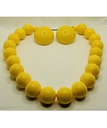 """Vintage Yellow Plastic Bead 16-1/2 to18-1/2"""" Necklace & 1-3/8"""" Clip Earr... - $18.99"""