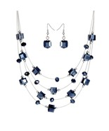 Women Bohemia Black Beads Jewelry Set Multilayers Necklace Earrings - $14.99