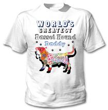 Basset hound - daddy c - NEW COTTON WHITE TSHIRT - $19.53