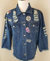 Jeans Size Large Denim Men's Distressed Jean Jacket w/ Patches (BO) - $35.62