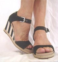 New UGG Black LEATHER Wedges Striped Atasha Shoes 7.5 8.5 10 - $59.50