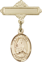 14K Gold Baby Badge with St. Emily de Vialar Charm Pin 1 X 5/8 inch - $437.28