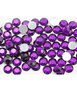 7mm SS34 Purple Amethyst .NAT02 Acrylic Rhinestones - 100 PCS - $4.99