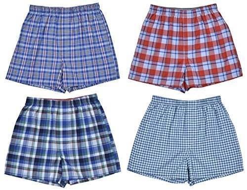 Perry Ellis Boys' 4-Pack Woven Boxer Shorts (Large / 14-16, Classic Assortment I