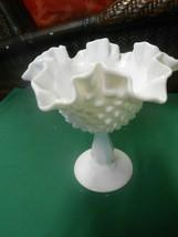 "Great Vintage FENTON Milk Glass Hobnail Ruffled Edge COMPOTE 6.25"" - $18.40"