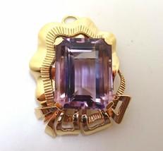 Retro Huge 14k Gold 36ct Genuine Natural Amethyst Pin / Pendant (#J3622) - $1,650.00