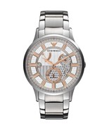 Emporio Armani AR4668 Silver Dial Stainless Steel Automatic Men's Watch NWT $445 - $197.99