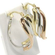 Earrings Circle Gold 750 18K, White Yellow Rose, Ovals, Wave, Wavy, 2.2 CM image 5