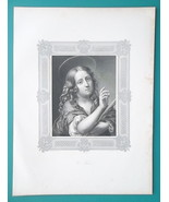 SAINT AGNES as Young Girl by Carlo Dolci - 1857 Steel Engraving Print - $12.96