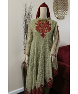 Pakistani Fancy Golden net Suit, with Thread Embroidery - $90.00