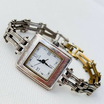 Vintage GUESS 1997 Women's Silver Plated Watch Square Steampunk Retro WORKS - $13.81