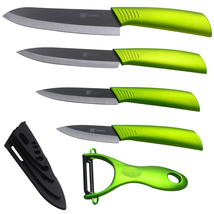 High quality ceramic knife set 3 4 5 6 inch black blade green handle new zirconium 8 thumb200