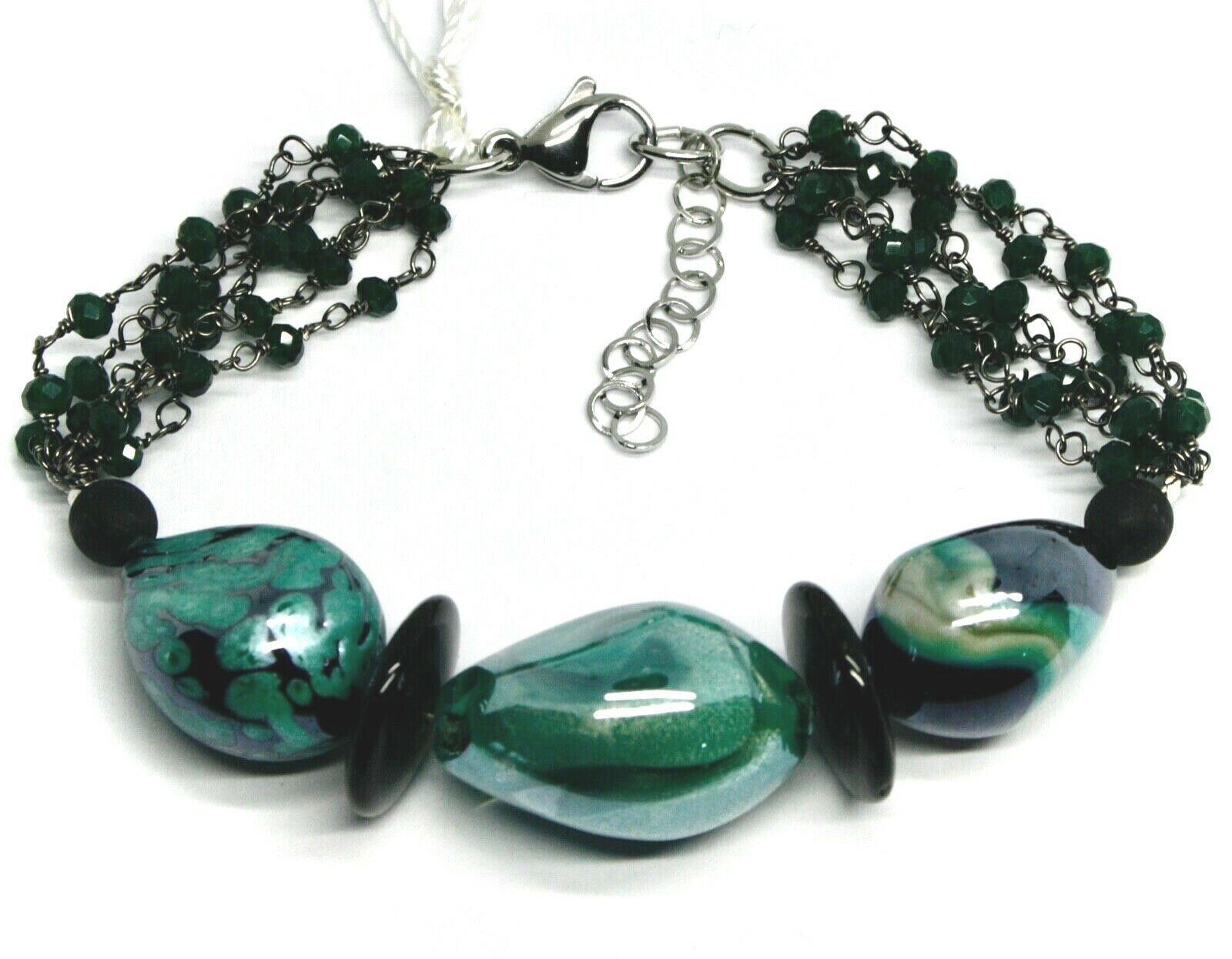 BRACELET BLACK, GREEN SPOTTED DROP OVAL DISC MURANO GLASS, MADE IN ITALY