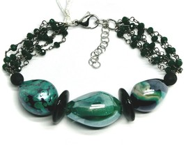 BRACELET BLACK, GREEN SPOTTED DROP OVAL DISC MURANO GLASS, MADE IN ITALY image 1