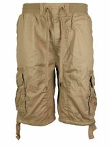 LR Scoop Men's Elastic Waist Drawstring Multi Pocket Cotton Cargo Shorts CJS-80 image 12