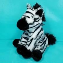 "Zebra Stuffed Zoo Animal Plush Black White Striped 11"" Soft Black Tail S... - $17.81"