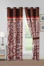 4-Pc Ranji Geometric Floral Medallion Curtain Set Rust Orange Beige Brown Sheer - $40.89