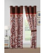 4-Pc Ranji Geometric Floral Medallion Curtain Set Rust Orange Beige Brow... - $40.89