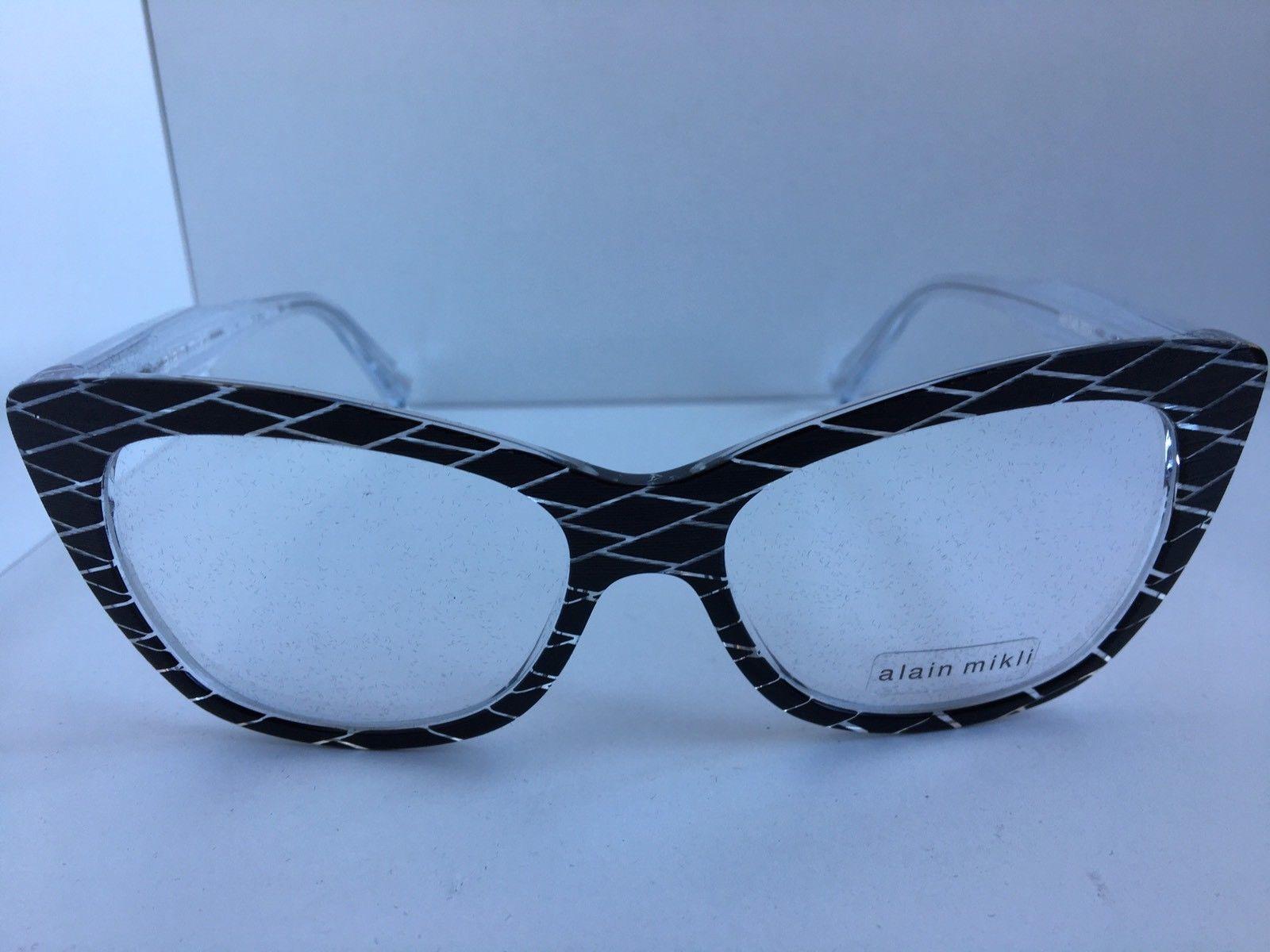 65a16a11d9 S l1600. S l1600. New ALAIN MIKLI A 01346M A01346M B09U 52mm Black Cats Eye  Women Eyeglasses Frame