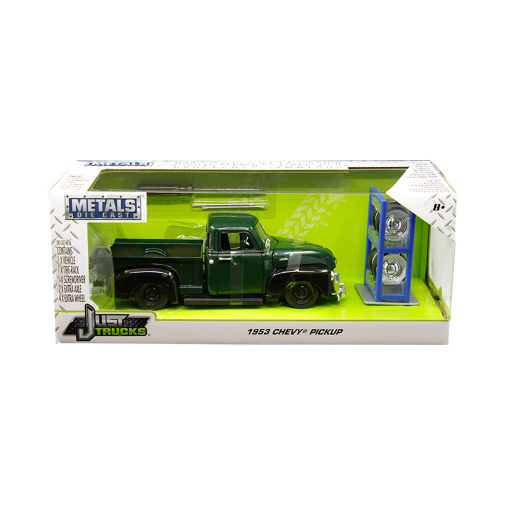 1953 Chevrolet 3100 Pickup Truck Green with Extra Wheels Just Trucks Series 1/24