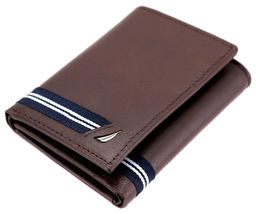 Nautica Men's Genuine Leather Credit Card Id Holder Trifold Wallet image 12