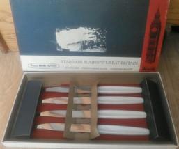 Vintage Regent Sheffield Cutlery wh handle Stainless Steel 4 PC Steak Knife Set - $19.57