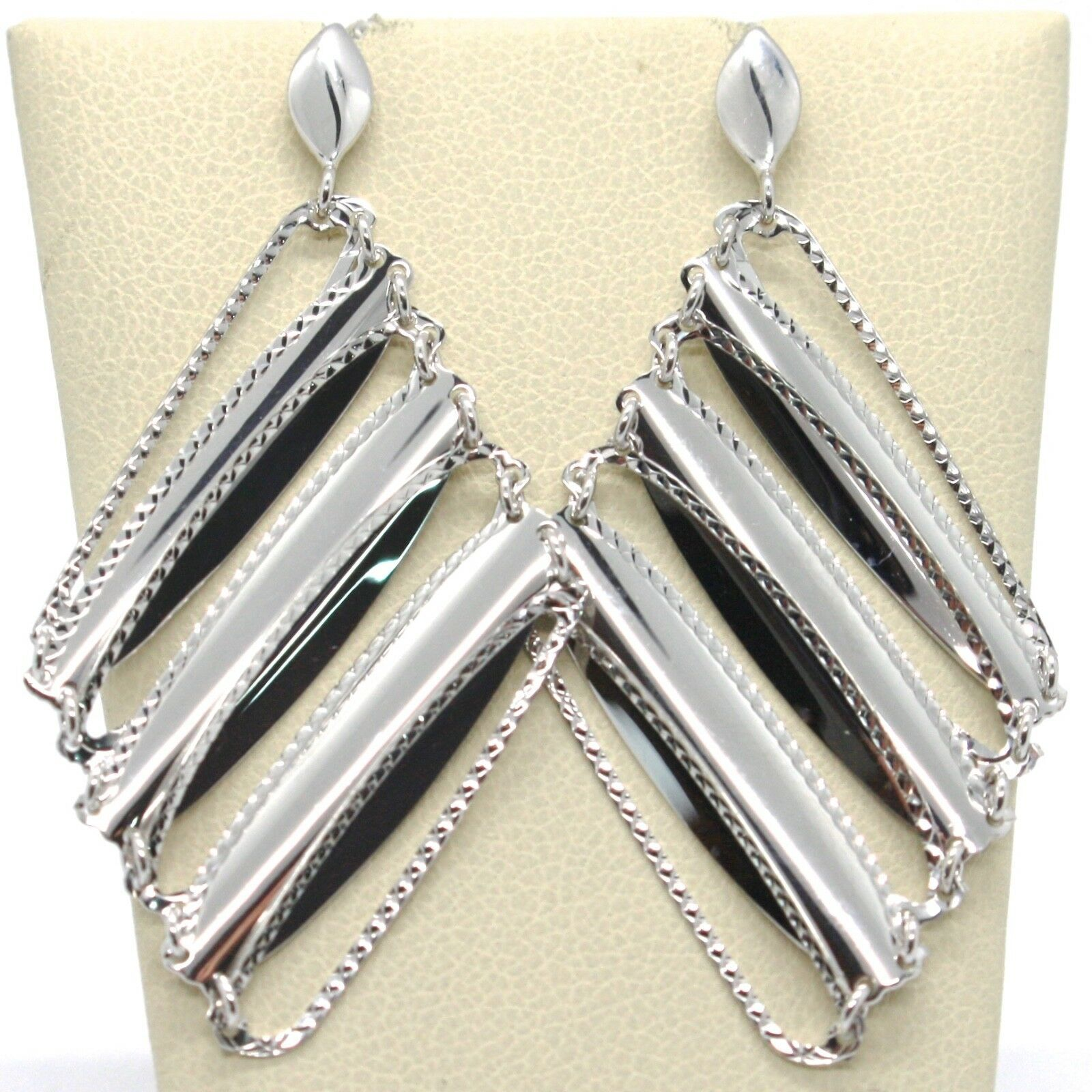 SOLID 18K WHITE GOLD LONG PENDANT EARRINGS WITH WORKED RHOMBUS, MADE IN ITALY