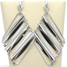 SOLID 18K WHITE GOLD LONG PENDANT EARRINGS WITH WORKED RHOMBUS, MADE IN ITALY image 1