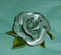 Vintage Blue Green Rose Pin 1960's Flower Brooch - $16.40