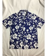 RJC Vtg USA Aloha Hawaiian Shirt Mens FLoral Made in Hawaii M Blue/White - $23.36