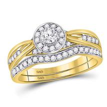 14kt Yellow Gold Round Diamond Bridal Wedding Engagement Ring Band Set 1/2 Ctw - $1,098.00