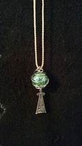 Dazzling green cracked glass marble necklace with wire cage and vintage ... - $11.95