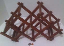 Vintage Wooden Quality Teak Wood Folding Wine Rack, Bottle Holder, Made ... - £28.19 GBP