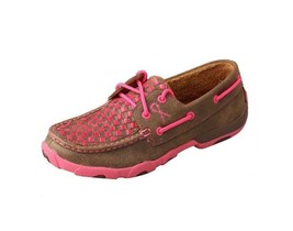 Women's Twisted X Neon Pink Breast Cancer Driving Mocs D Toe - WDM0027 - $95.95