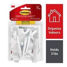 Command Hooks, Indoor Use, Organize Damage-Free, White, 20 hooks, 24 strips 1700