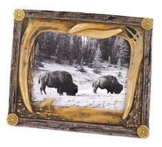 Photo frame  mimics deer antlers, with worn wood appearance - $10.39