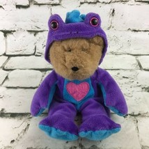 Teddy Bear Plush In Purple Frog Suit Costume Stuffed Animal Soft Toy - $9.89